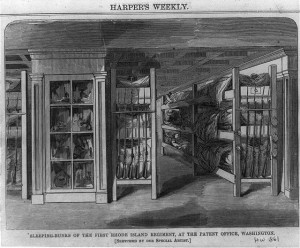 First Rhode Island Regiment Camping in the Shelves of the US Patent Office
