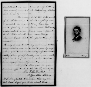 Mrs. J.B. Hulbert's letter, asking about her son.