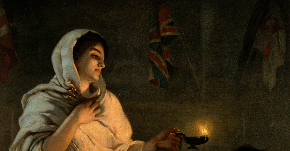A painting depicting Florence Nightingale