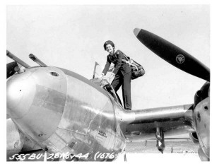 Ruth Dailey on top of the P38