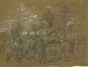 Alfred Waud's sketch of amputation and evacuation at Antietam