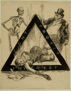 A political cartoon critiquing the forces that stopped or stalled workplace safety laws, making the Triangle Shirtwaist Fire possible. Image Courtesy of the Delaware Museum of Art
