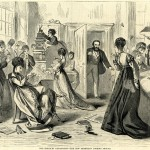 A political cartoon from 1869 depicts the new Secretary of the Treasury opening a door to find a bunch of female employees doing anything but working.