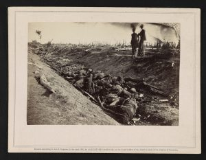 Dead soldiers in Antietam's infamous bloody lane (Courtesy of the Library of Congress)