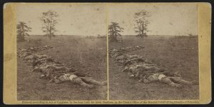Confederate dead collected for burial (Courtesy of the Library of Congress)