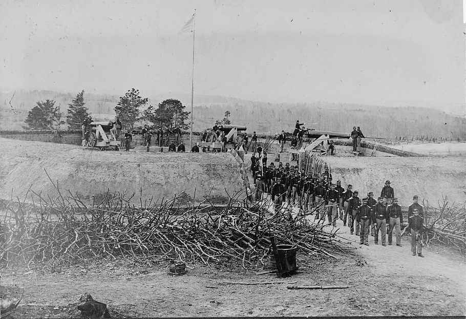 Union troops posing by Fort Stevens