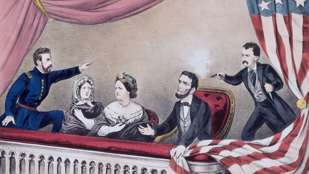 drawing of the Lincoln assassination