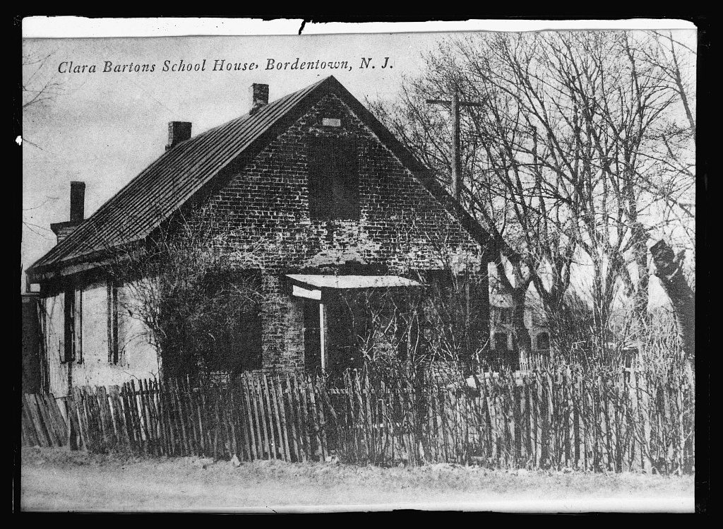 Clara Barton's school house in Bordentown, NJ c 1919. Courtesy of the Library of Congress