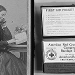 Clara Barton and a first aid kit she would help inspire