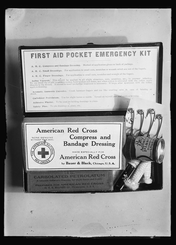 Clara Barton's efforts with the National First Aid Association of America helped make first aid kits like this (c 1919) more common. Courtesey of the Library of Congress