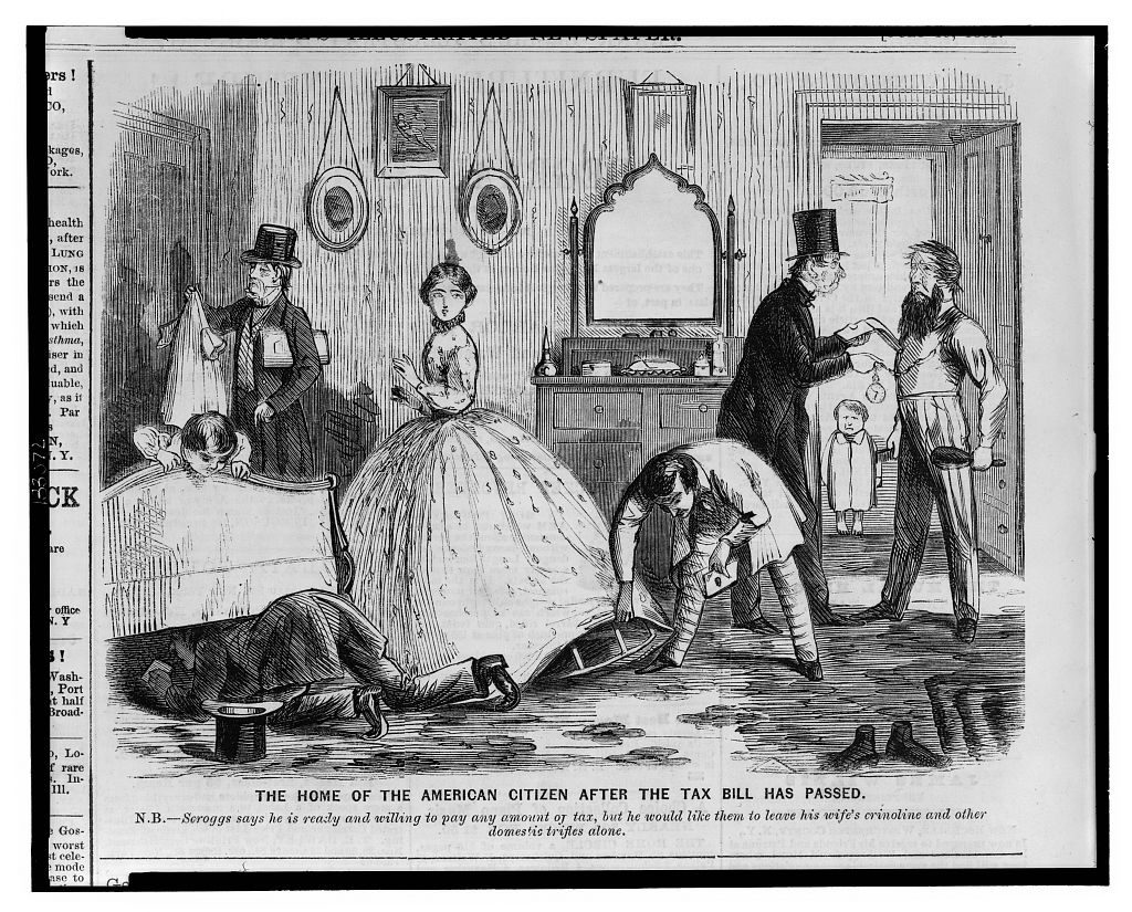 This illustration from 1862 shows how a woman's clothes became increasingly suspect as vessels for hiding and transporting secrets, but also how men strove to protect women's modesty, making it easier for female spies to hide secrets in their clothes. Courtesy of the Library of Congress.