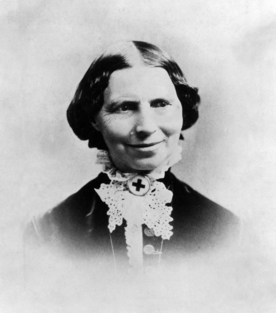 Clara Barton with Red Cross pin c 1881 when the American Red Cross was established