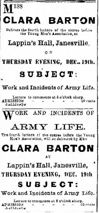 Announcement of a lecture by Barton in Janesville, Wisconsin. From The Janesville Gazette, December 11, 1867