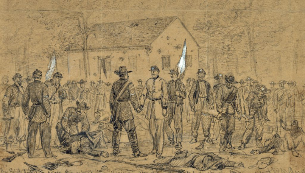 Flag of Truce after the Battle of Antietam in order to collect the wounded. Sketch by Alfred Waud, September 1862. Courtesy of the Library of Congress