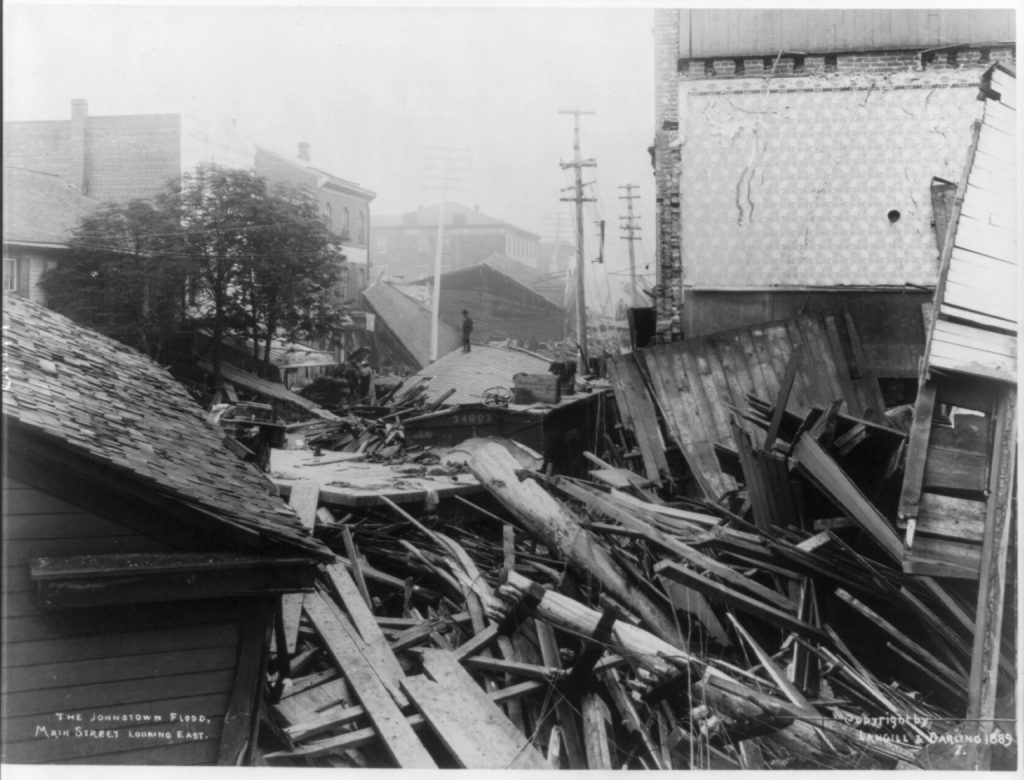 Main street in Johnstown after the 1889 flood. Courtesy of the Library of Congress