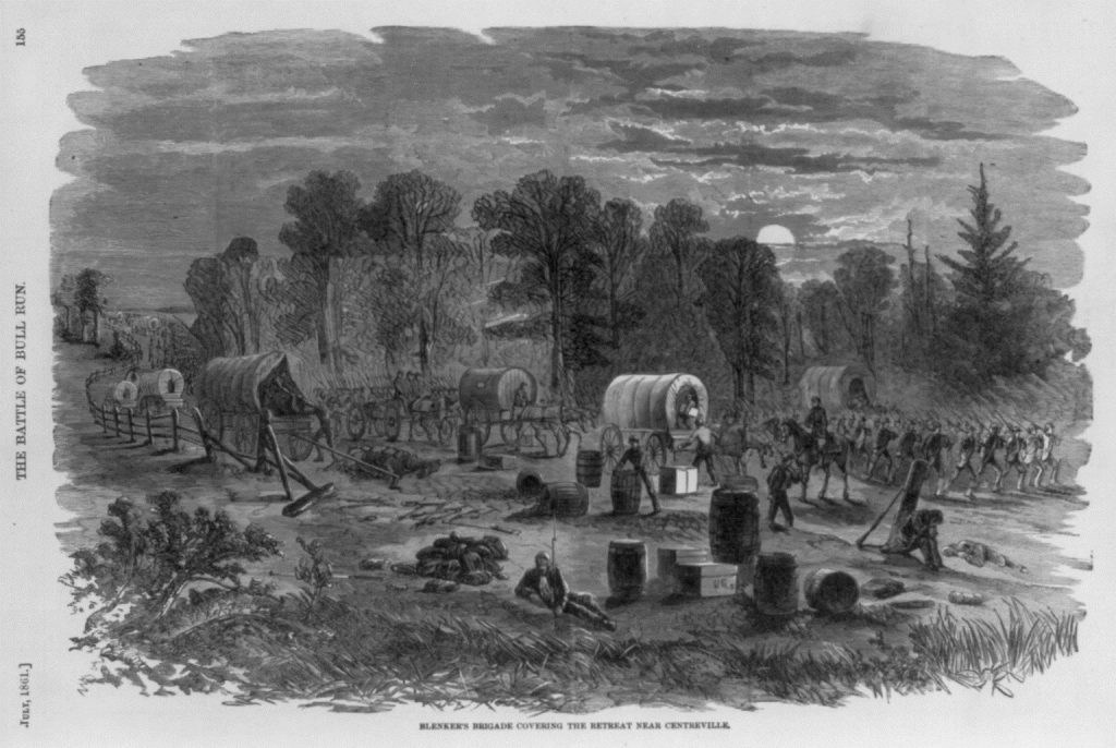 Newspaper image of the retreat from Bull Run. Courtesy of the Library of Congress