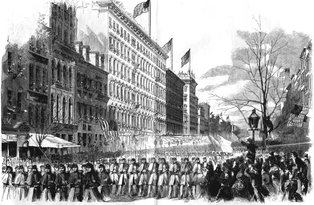 Harpers Weekly sketch of Union soldiers heading to Washington. The atmosphere shown here mirrored the scene where the Union army left Washington for Bull Run.