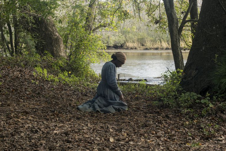 Harriet Tubman during one of her frequent prayers in the film